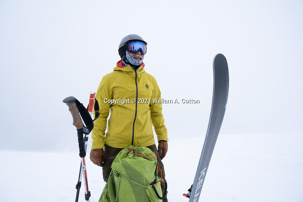Diamond Peaks Ski Patrol member Mac Fuller prepares to ski off the ridgetop near Montgomery Pass, Feb. 6, 2021.