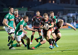 Dragons' Hallam Amos breaks through<br /> <br /> Photographer Simon King/Replay Images<br /> <br /> 1 Round 1 - Dragons v Benetton Treviso - Saturday 1st September 2018 - Rodney Parade - Newport<br /> <br /> World Copyright © Replay Images . All rights reserved. info@replayimages.co.uk - http://replayimages.co.uk