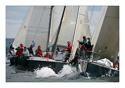 Sailing - The 2007 Bell Lawrie Scottish Series hosted by the Clyde Cruising Club, Tarbert, Loch Fyne..The final days racing had cold steady Northerly breeze to decide the overall placings..Anthony O'Leary's Antix Dubh in Class one start action..IRC Class 1 Antix Dubh IRL8833.