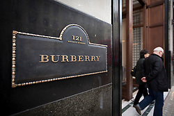 © Licensed to London News Pictures. 07/11/2012. London, UK. The Burberry Ltd logo is seen on the company's Regent Street store in London. The clothing company today announced a 30% loss in profit for the brand, but insisted that the company was still strong. Photo credit: Matt Cetti-Roberts/LNP