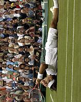 Tennis<br /> Wimbledon 2005<br /> Foto: Colorsport/Digitalsport<br /> NORWAY ONLY<br /> <br /> Roger Federer (Sui) drops to the ground after winning match point. Mens singles Final. Roddick v Federer. 3/7/2005. Centre Court. Wimbledon Tennis Championships 2005.