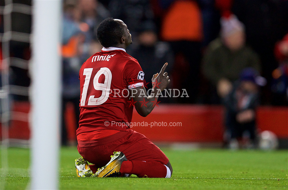 LIVERPOOL, ENGLAND - Wednesday, April 4, 2018: Liverpool's Sadio Mane celebrates scoring the third goal during the UEFA Champions League Quarter-Final 1st Leg match between Liverpool FC and Manchester City FC at Anfield. (Pic by David Rawcliffe/Propaganda)
