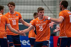 Gijs van Solkema #15 of Netherlands, Twan van Wiltenburg in action during the Olaf Ratterman Memorial match between Netherlands vs. Eredivisie All Star team on May 03, 2021 in Barneveld.