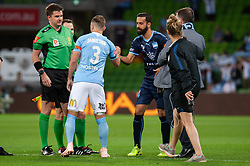 November 2, 2018 - Melbourne, VIC, U.S. - MELBOURNE, VIC - NOVEMBER 02: A handshake between both team captains before the match at the Hyundai A-League Round 3 soccer match between Melbourne City FC and Sydney FC on November 02, 2018, at AAMI Park in Melbourne. (Photo by Speed Media/Icon Sportswire) (Credit Image: © Speed Media/Icon SMI via ZUMA Press)