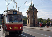 Trams in the old town; Prague, Czech Republic.