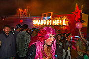 Glastonbury Festival, 2015. Shangri La is a festival of contemporary performing arts held each year within Glastonbury Festival. The theme for the 2015 Shangri La was Protest. <br /> People arriving into the Hell area of the Shangri La field