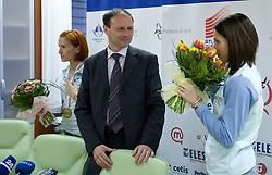 Sonja Roman, Boris Mikuz and Marija Sestak at welcome press conference after European Athletics Indoor Championships Torino 2009, AZS, Ljubljana, Slovenia, on March 9, 2009. (Photo by Vid Ponikvar / Sportida)