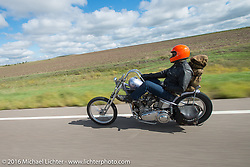 Bill Buckingham riding his 1923 Harley-Davidson J model custom chopper (that won top honors at Born Free 6) during Stage 8 of the Motorcycle Cannonball Cross-Country Endurance Run, which on this day ran from Junction City, KS to Burlington, CO., USA. Saturday, September 13, 2014.  Photography ©2014 Michael Lichter.