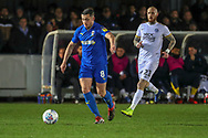 AFC Wimbledon midfielder Anthony Hartigan (8) passing the ball during the EFL Sky Bet League 1 match between AFC Wimbledon and Peterborough United at the Cherry Red Records Stadium, Kingston, England on 12 March 2019.