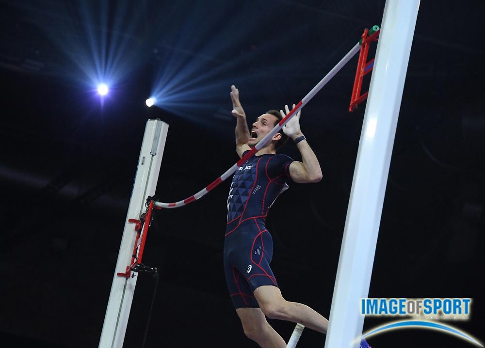 Mar 4, 2018; Birmingham, United Kingdom; Renaud Lavillenie (FRA) wins the pole vault at 19-4 1/4 (5.90m)  during the IAAF World Indoor Championships at Arena Birmingham.
