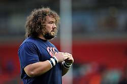 Adam Jones (Blues) looks on during the pre-match warm-up - Photo mandatory by-line: Patrick Khachfe/JMP - Mobile: 07966 386802 29/08/2014 - SPORT - RUGBY UNION - Leicester - Welford Road - Leicester Tigers v Cardiff Blues - Pre-Season Friendly