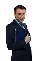 man caucasian teacher professor holding closed book isolated studio on white background