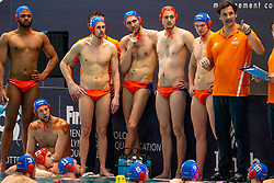 Time out Netherlands with Coach Harry van der Meer, Guus Wolswinkel, Eelco Wagenaar, Guus van IJperen, Kjeld Veenhuis of the Netherlands in action against Croatia during the Olympic qualifying tournament. The Dutch water polo players are on the hunt for a starting ticket for the Olympic Games on February 15, 2021 in Rotterdam