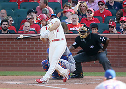 July 8, 2017 - St Louis, MO, USA - The St. Louis Cardinals' Paul DeJong hits a double in the seventh inning, one of his four extra-base hits on the day, against the New York Mets on Saturday, July 8, 2017, at Busch Stadium in St. Louis. The Cards won, 4-1. (Credit Image: © Chris Lee/TNS via ZUMA Wire)