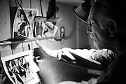 Herb Snitzer in his darkroom. St. Petersburg, FL. Herb is 77 years old and NEVER had a McDonald's hamburger. He plans on keeping it that way.