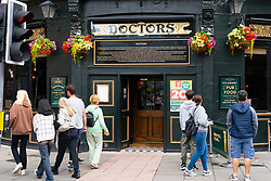 Edinburgh, Scotland, UK. 22nd August 2021. Police were called last night by a member of staff of Doctors Bar. and several women were removed from the premises. It is believes one of those removed was Marion Millar a gender -critical feminist. A spokesperson for the Green King Group who operate Doctors Bar are conducting an internal investigation into what happened. Exterior view of the Doctors Bar on Forrest Road in Edinburgh City Centre. Iain Masterton/Alamy Live News.