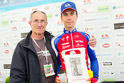 Franc Skerlj and winner Radoslav Rogina (CRO) of Adria Mobil during flower ceremony after the Stage 3 from Skofja Loka to Vrsic (170 km) of cycling race 20th Tour de Slovenie 2013,  on June 15, 2013 in Slovenia. (Photo By Vid Ponikvar / Sportida)