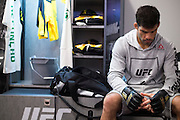 LAS VEGAS, NV - JULY 9:  Raphael Assuncao waits in the locker room before UFC 200 at T-Mobile Arena on July 9, 2016 in Las Vegas, Nevada. (Photo by Cooper Neill/Zuffa LLC/Zuffa LLC via Getty Images) *** Local Caption *** Raphael Assuncao
