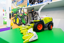 A scale model Klaas combine harvester at the Toy Fair at Kensington Olympia in London, the UK's largest dedicated game and hobby exhibition featuring the hottest and most anticipated products for the year ahead. London, January 22 2019.