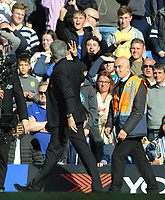 Football - 2018 / 2019 Premier League - Chelsea vs. Manchester United<br /> <br /> Manchester United manager,Jose Mourinho shows 4 fingers up to the Chelsea fans after the match, at Stamford Bridge.<br /> <br /> COLORSPORT/ANDREW COWIE