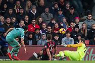 Henrikh Mkhitaryan (Arsenal) ball saved by Asmir Begovic (GK) (Bournemouth) during the Premier League match between Bournemouth and Arsenal at the Vitality Stadium, Bournemouth, England on 25 November 2018.