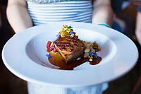 Braised pork belly at Beast, a Northeast Portland restaurant from chef Naomi Pomeroy. Portland, Oregon.