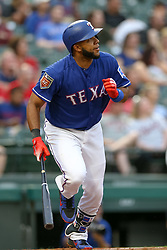 March 26, 2018 - Arlington, TX, U.S. - ARLINGTON, TX - MARCH 26: Texas Rangers shortstop Elvis Andrus (1) hits a double during the exhibition game between the Cincinnati Reds and Texas Rangers on March 26, 2018 at Globe Life Park in Arlington, TX. (Photo by Andrew Dieb/Icon Sportswire) (Credit Image: © Andrew Dieb/Icon SMI via ZUMA Press)