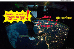From 220 miles above Earth, one of the Expedition 25 crew members onboard the International Space Station shot this night time image of the northern Gulf coast. Mobile Bay and the city of Mobile (top left, beneath one of the solar panels of a docked Russian Soyuz spacecraft), New Orleans and Houston are visible as the view moves southeastward. The Interstate Highway 20 cities of Jackson, Shreveport, Dallas and Fort Worth are also visible further inland.