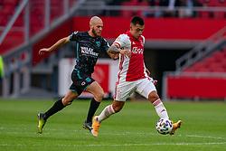 Edson Alvarez of Ajax, James Efmorfidis of RKC Waalwijk in action during eredivisie round 02 between Ajax and RKC at Johan Cruyff Arena on September 20, 2020 in Amsterdam, Netherlands