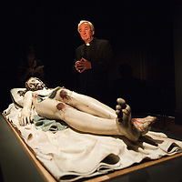 LONDON, ENGLAND - OCTOBER 16: Archbishop of Westminster Vincent Nichols stands in front of the statue Dead Christ by Gregorio Fernadez at 'The Sacred Made Real Exhibition' at the National Gallery on October 16, 2009 in London, England. The Exhibition running from October 21 to January 24, 2010 includes masterpieces by Velasquez and Francisco de Zurbaran which are displayed for the very first time outside of Spain ...***Agreed Fee's Apply To All Image Use***.Marco Secchi /Xianpix. tel +44 (0) 771 7298571. e-mail ms@msecchi.com .www.marcosecchi.com