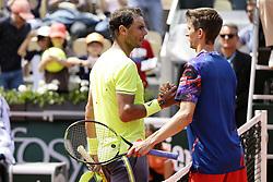 May 29, 2019 - Paris, France - Rafael Nadal of Spain (L) won against Yannick MADEN of Germany during the Roland-Garros 2019, Grand Slam Tennis Tournament, men's draw on May 29, 2019 at Roland-Garros stadium in Paris, France. (Credit Image: © Ibrahim Ezzat/NurPhoto via ZUMA Press)