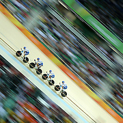Track Cycling - Olympics: Day 6 Simone Consonni #13, Filippo Ganna #116, Francesco Lamon #117 and Michele Scartezzini of Italy in action during the Men's Team Pursuit Finals during the track cycling competition at the Rio Olympic Velodrome August 12, 2016 in Rio de Janeiro, Brazil. (Photo by Tim Clayton/Corbis via Getty Images)