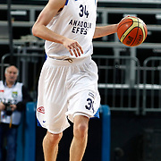 Anadolu Efes's Osman Gokhan Sirin during their Turkish Basketball League match Anadolu Efes between Olin Edirne at Arena in Istanbul, Turkey, Saturday, February 11, 2012. Photo by TURKPIX