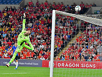 Football - 2022 FIFA World Cup - European Qualifying - Group E - Wales vs Estonia - Cardiff City Stadium - Wednesday 8th September 2021<br /> <br /> Danny Ward Wales is beaten as Estonia  hit the bar with a shot at goal in the 37th minute <br /> <br /> <br /> COLORSPORT/WINSTON BYNORTH