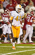 Nov 12, 2011; Fayetteville, AR, USA;  Tennessee Volunteers defensive back Dontavis Sapp (41) runs off the field  during a game against the Arkansas Razorbacks at Donald W. Reynolds Razorback Stadium. Arkansas defeated Tennessee 49-7. Mandatory Credit: Beth Hall-US PRESSWIRE