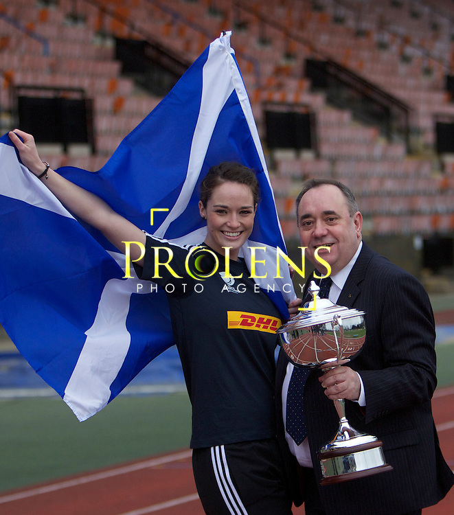 Launch Of the Scottish Rugby Sports Relief 2012 by First Minister Alex Salmond.08-03-12...First Minister Alex Salmond meets Scottish stars taking part a Sports Relief celebrity challenge, including Cammy Mather, Scott Hastings and Miss Scotland Jennifer Reoch.  The event takes place on the 25th March... At Meddowbank Stadium,  Edinburgh..Picture, Mark Davison/PLPA.Wednesday 8th March 2012