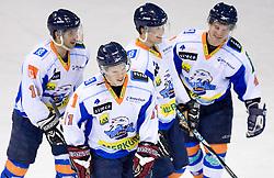 Milan Hafner, Jan Bercic,  Metod Bevk and Dejan Zemva at SLOHOKEJ league ice hockey match between HK Slavija and HK Triglav Kranj, on February 3, 2010 in Arena Zalog, Ljubljana, Slovenia. Triglaw won 4:1. (Photo by Vid Ponikvar / Sportida)