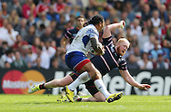 Samoa Alesana Tuilagi running with the ball during the Rugby World Cup 2015 match between Samoa and USA at the Brighton Community Stadium, Falmer, United Kingdom on 20 September 2015.