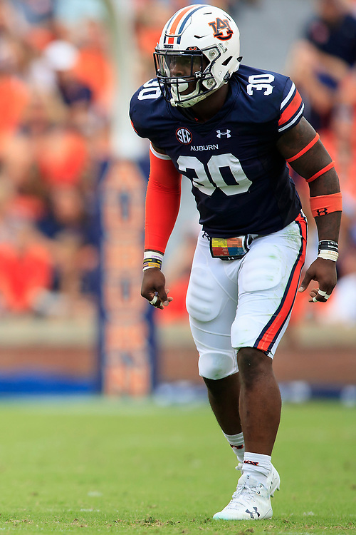 Auburn Tigers linebacker Tre' Williams (30) during an NCAA football game against the Mississippi Rebels, Saturday, October 7, 2017, in Auburn, AL. Auburn won 44-23. (Paul Abell via Abell Images for Chick-fil-A Peach Bowl)