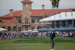 March 16, 2019 - Ponte Vedra Beach, FL, U.S. - PONTE VEDRA BEACH, FL - MARCH 16: Tiger Woods of the United States plays a shot on the 18th hole during the third round of THE PLAYERS Championship on March 16, 2019 on the Stadium Course at TPC Sawgrass in Ponte Vedra Beach, Fl. (Photo by David Rosenblum/Icon Sportswire) (Credit Image: © David Rosenblum/Icon SMI via ZUMA Press)