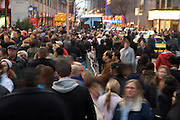crowded sidewalk in Mid Town Manhattan New York City