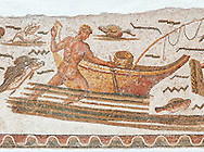 Roman mosaic depicting fishermen.  The fisherman is pushing his boat which had a rod and line on the front of it. From the reign of Emperor Gallienus 260-280 AD. Excavated from The House of Dionysus and Ulysses, Dougga. Roman mosaics from the north African Roman province of Africanus . Bardo Museum, Tunis, Tunisia.Roman mosaics from the north African Roman province of Africanus .  Inv 2384, Bardo Museum, Tunis, Tunisia. .<br /> <br /> If you prefer to buy from our ALAMY PHOTO LIBRARY  Collection visit : https://www.alamy.com/portfolio/paul-williams-funkystock/roman-mosaic.html - Type -   Bardo    - into the LOWER SEARCH WITHIN GALLERY box. Refine search by adding background colour, place, museum etc<br /> <br /> Visit our ROMAN MOSAIC PHOTO COLLECTIONS for more photos to download  as wall art prints https://funkystock.photoshelter.com/gallery-collection/Roman-Mosaics-Art-Pictures-Images/C0000LcfNel7FpLI