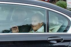 © Licensed to London News Pictures. 16/03/2021. Windsor, UK. Prince Philip, Duke of Edinburgh, arrives at Windsor Castle after leaving the King Edward VII's Hospital in central London. Photo credit: Peter Manning/LNP