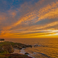 The Point Montara Lighthouse stands atop a Pacific Ocean cliff in Montara, California, south of San Francisco.