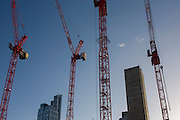 Cranes and blue sky on a large construction site at Broadgate development in the City of London. Looking up from a low angle, we see just two clouds in an otherwise blue sky, with four of the project's cranes reaching upwards, the reinforced concrete lift shaft of a new building rising fast and a completed block on the left. Broadgate is a large, 32-acre (13 ha) office and retail estate in the City of London, owned by British Land and the Blackstone Group and managed by Broadgate Estates. The original developer was Rosehaugh: it was built by a Bovis / Tarmac Construction joint venture