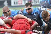 Rugby Union - 2018 / 2019 European Rugby Champions Cup - Pool Three: Cardiff Blues vs. Lyon<br /> <br /> Liam Belcher, of Cardiff Blues: in the centre of the Cardiff front row as they pack down , at Cardiff Arms Park.<br /> <br /> COLORSPORT/WINSTON BYNORTH