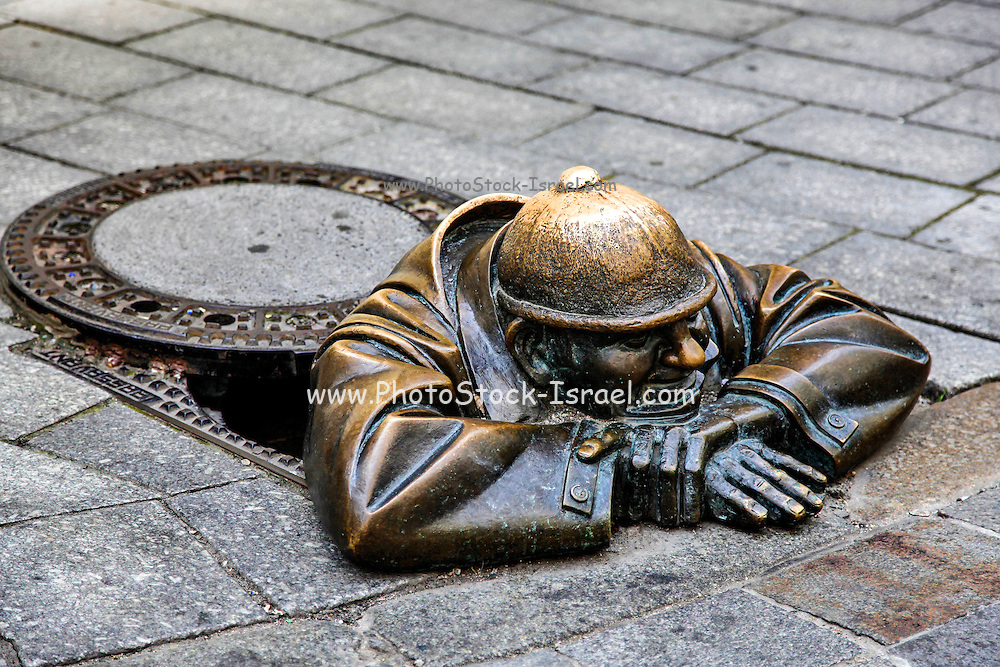 Slovakia, Bratislava, Historic center. Cumil statue by artist Victor Hulik, 1997