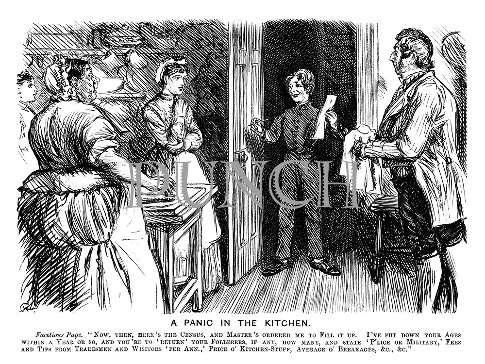 """A Panic in the Kitchen. Facetious Page. """"Now, then, here's the census, and the master's ordered me to fill it up. I've put down your ages to within a year or so, and you're to 'Return' your follerers, if any, how many, and state 'P'lice or Military,' Fees and Tips from Tradesmen and Wisitors 'per Ann.,' Price o' Kitchen-Stuff, Average o' Breakages, &c., &c."""""""