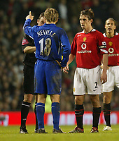 Photo: Aidan Ellis.<br /> Manchester United v Everton. The Barclays Premiership.<br /> 11/12/2005.<br /> United's Gary Neville comes face to face with his Brother Everton's Phil Neville