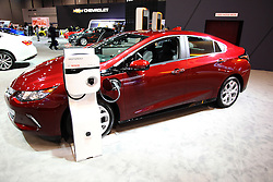 11 February 2016:  Chevrolet Volt.<br /> <br /> First staged in 1901, the Chicago Auto Show is the largest auto show in North America and has been held more times than any other auto exposition on the continent.  It has been  presented by the Chicago Automobile Trade Association (CATA) since 1935.  It is held at McCormick Place, Chicago Illinois<br /> #CAS16
